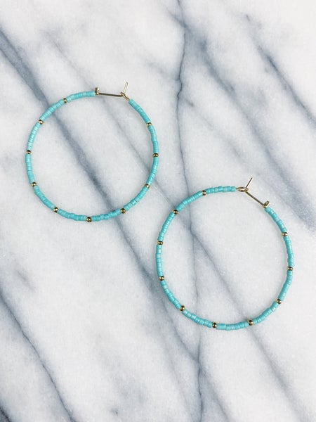 Parksdale Beaded Hoops  - Turquoise