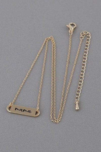 Mama Engraved Necklace - Gold