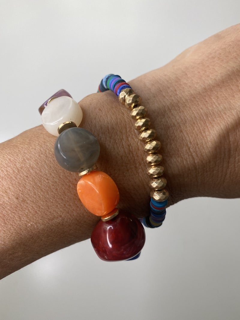 Colorful Double Stack Stone + Vinyl Disc