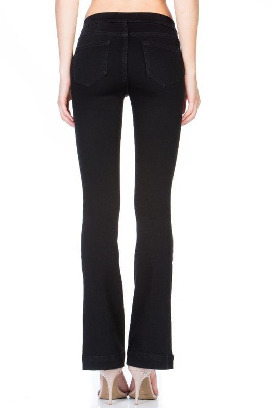FINAL SALE - Blaine Flare Leg Pull-On Jeans - BLACK