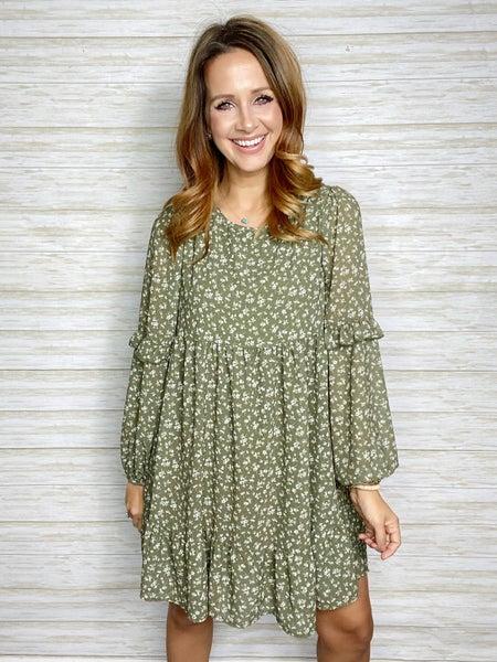 Catalina Floral Ruffle Hem Dress