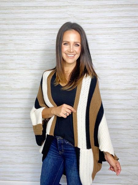 Gloria Open Knit Poncho Sweater - Vanilla/Black/Camel