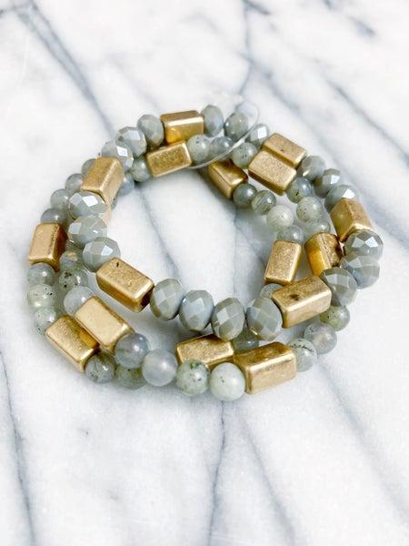 Stone Bead Multi Strand Stack - Gray
