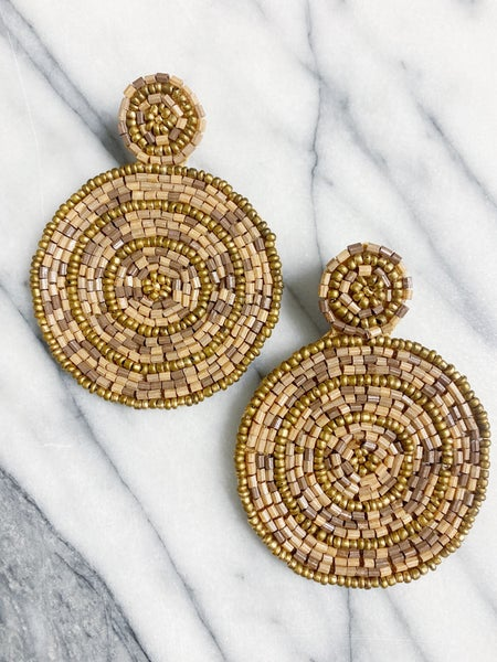 Geneva Beaded Circle Drops - Taupe