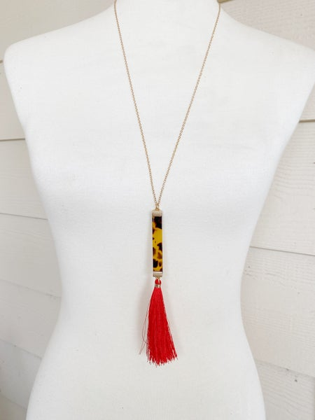 The Teague Tassel Necklace - Red