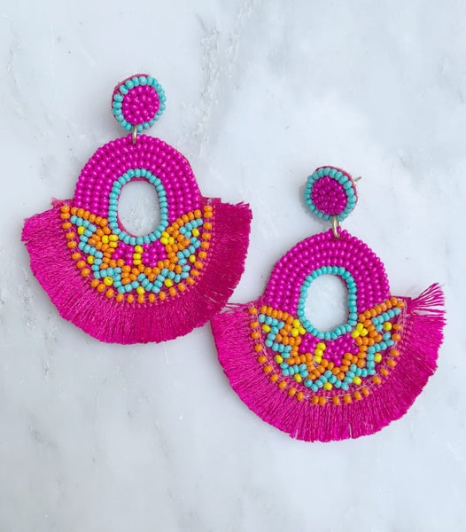 Carrollton Beaded Fringe Earrings