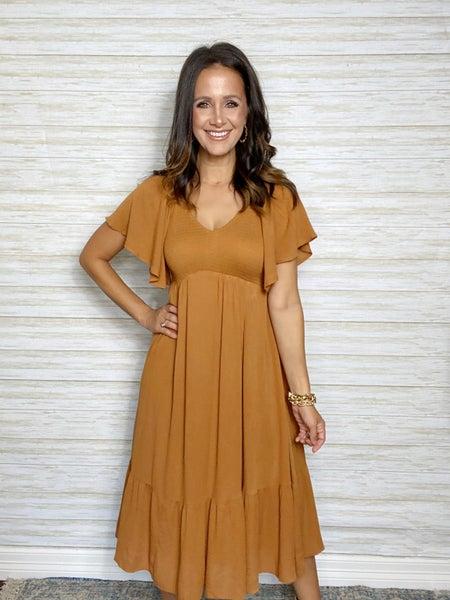 Isabella Flutter Sleeve Smocked Midi Dress - Caramel
