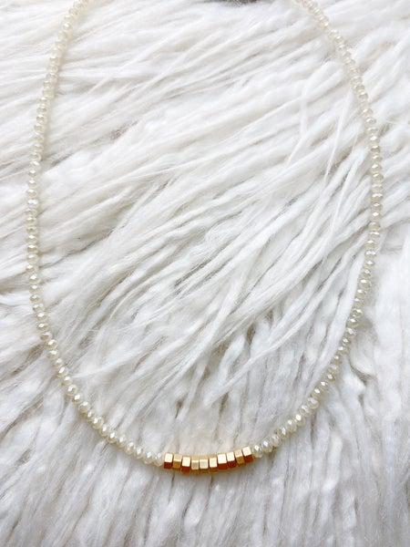 Highlands Iridescent + Gold Cube Collar Necklace - Neutral