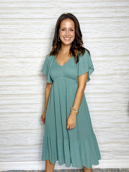 Isabella Flutter Sleeve Smocked Midi Dress - Dark Sage - MEDIUM ONLY