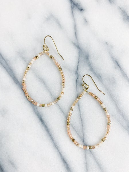 Manhattan Beaded Teardrop Earrings - Peach