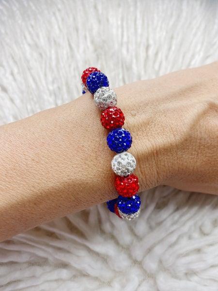 Patriotic Beaded Ball Bracelet