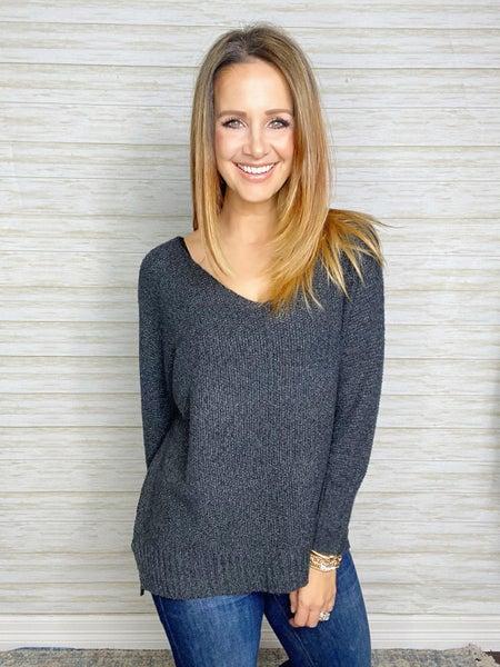 Brandy V-Neck Lightweight Sweater - Charcoal
