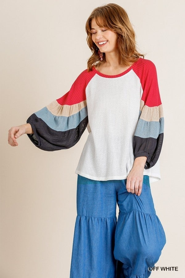 Juniper Colorblock Puff Sleeve Top