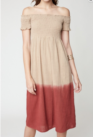 FINAL SALE - Avery SmockedOff the Shoulder Dress - Taupe + Brick - MEDIUM ONLY