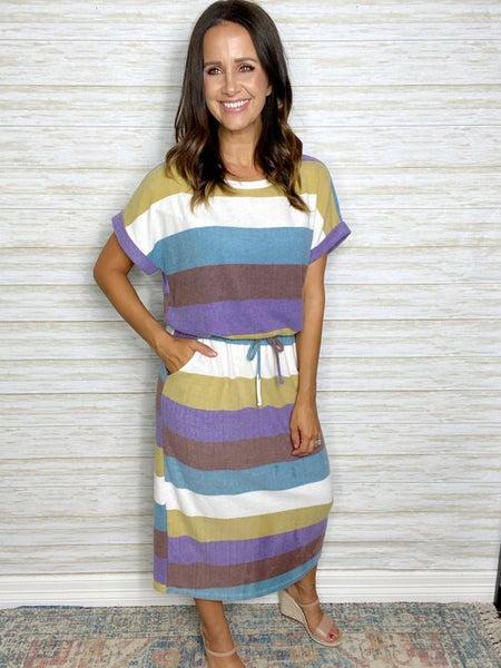 FINAL SALE - Madelyn Colorblock Stripe Midi Dress