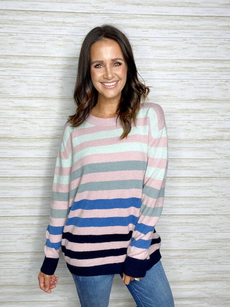 FINAL SALE - Leah MultiColor Stripe Sweater - SM ONLY