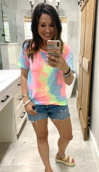 FINAL SALE - Brooklyn MultiColor Tie Dye Short Sleeve - LARGE ONLY