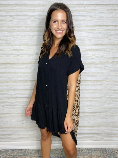 FINAL SALE - Emilia Leopard Print Button Down Dress
