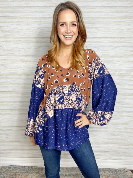 Mixed Print Babydoll Balloon Sleeve Top - LARGE ONLY