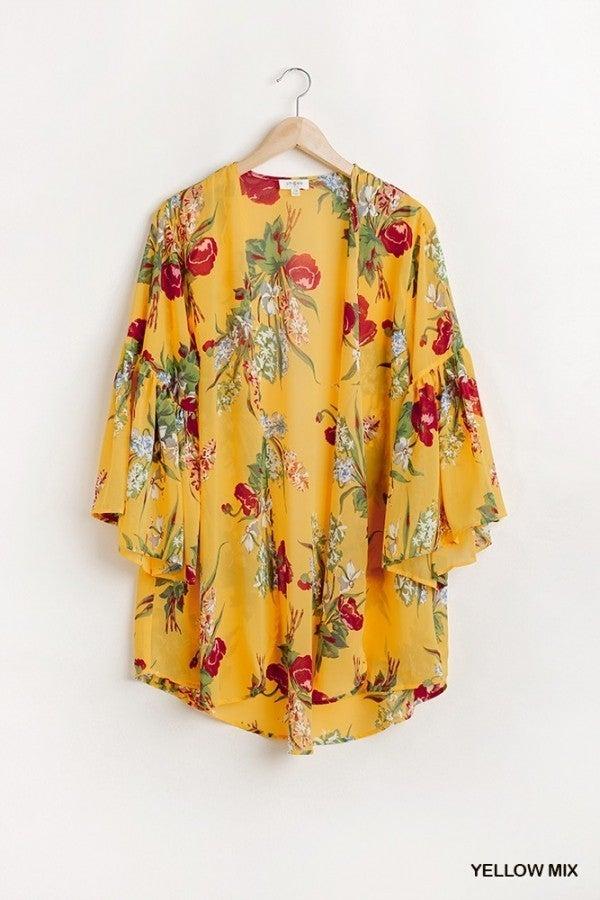 Honey Floral Mix Kimono