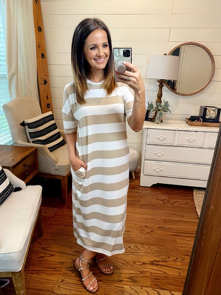 FINAL SALE - Georgia Stripe Midi Dress - Taupe