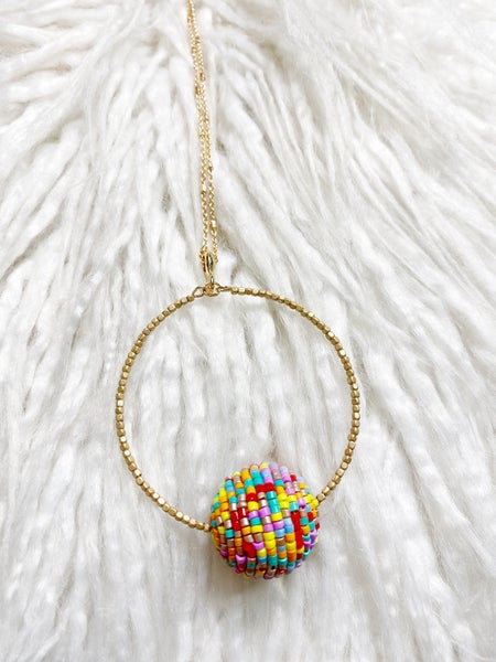 Lennon Beaded Pendant Necklace - Multi