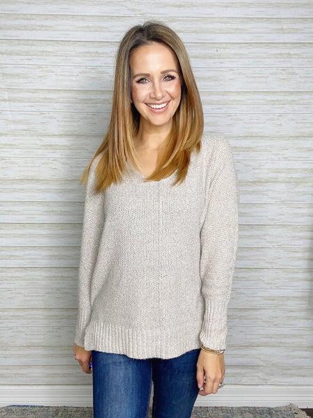 Brandy V-Neck Lightweight Sweater - Taupe
