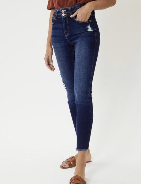 FINAL SALE - Bristol High Rise Ankle Skinnies with Fringe Detail - Dark Wash