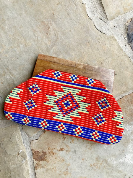 FINAL SALE - Embroidered Wood Handle Clutch
