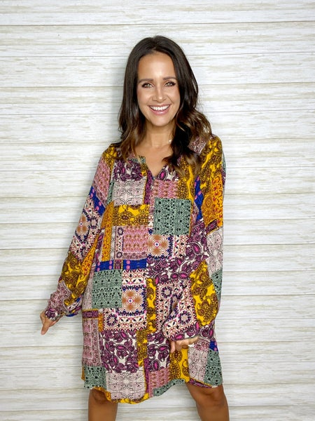 FINAL SALE - Shiloh Patchwork Long Sleeve Dress