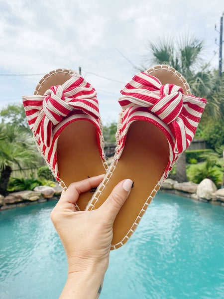 FINAL SALE - Red + White Bow Slides