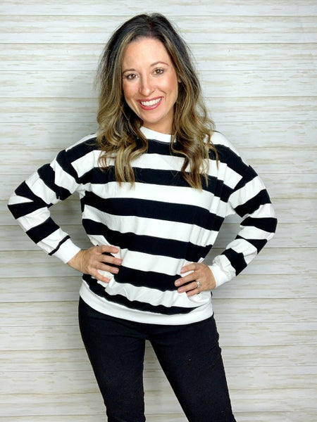 FINAL SALE - Quinn Striped French Terry Pullover - ML ONLY