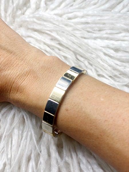 Ciara Gold & Silver Tile Stretch Bracelet