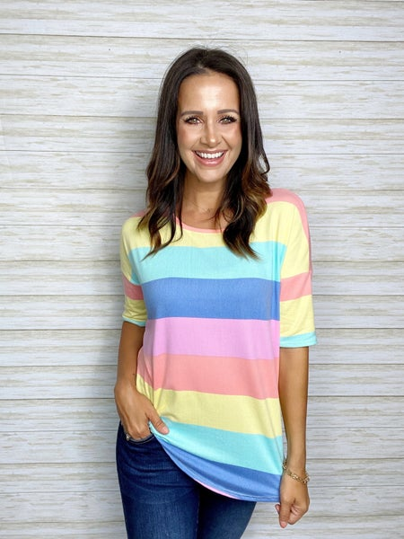 FINAL SALE - Brielle MultiColor Stripe Short Sleeve SMALL ONLY