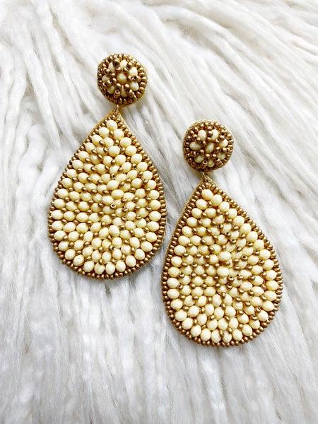 Manhattan Beaded Teardrop Earrings - Ivory