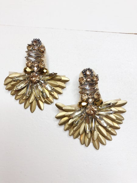 Matte Gold + Crystal Feathered Drop Earrings