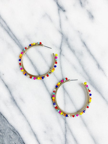 High Island Multicolor Beaded Hoops