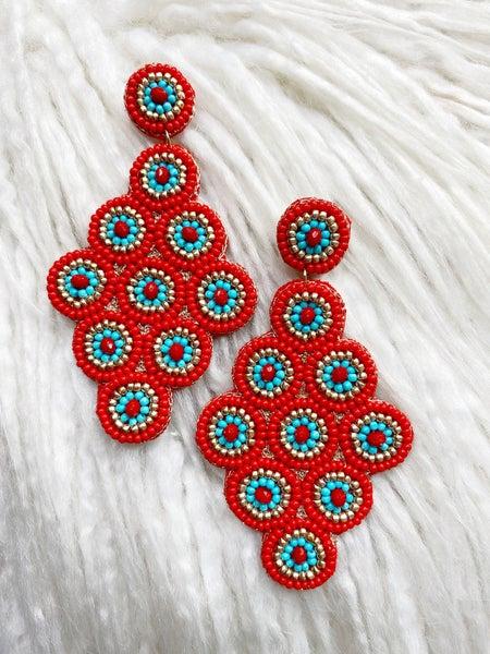 Covington Beaded Earrings - Red + Turquoise