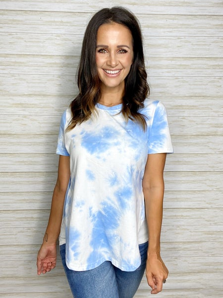FINAL SALE - Ari Blue + White Stretch Tee