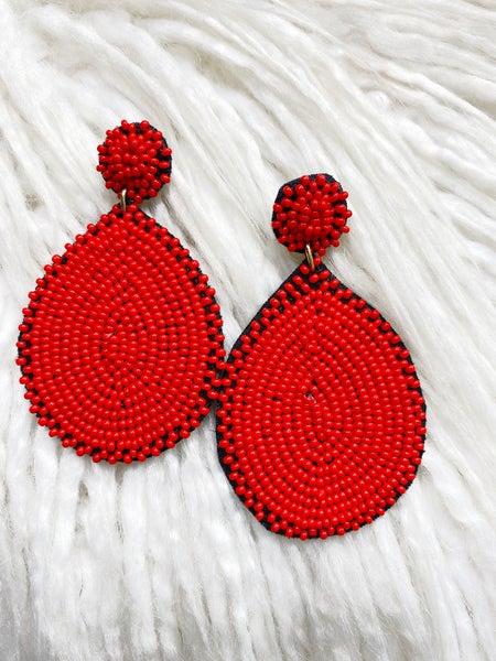 Richmond Teardrop Beaded Earrings - Red