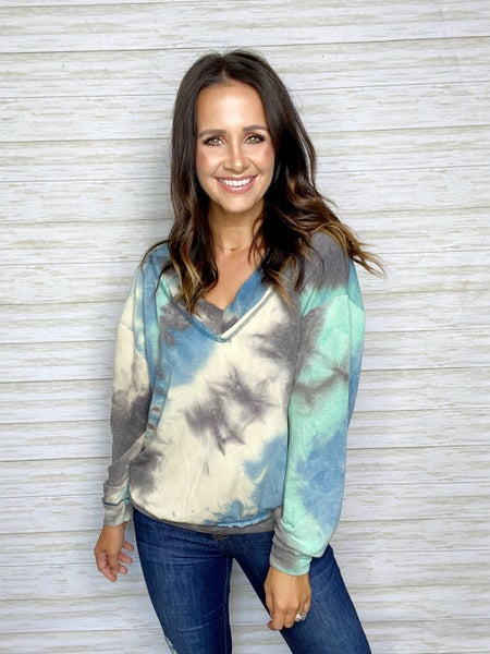 FINAL SALE - Abby  Long Sleeve Tie Dye - Blue/Green