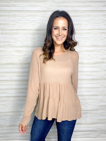 Teagan Tiered Babydoll Top - Taupe