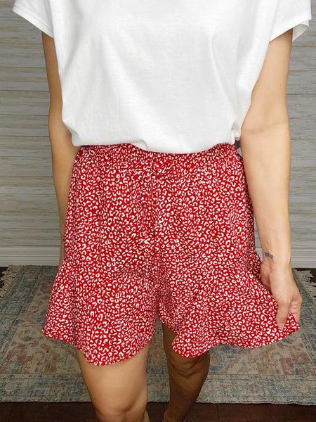 Betty Animal Print Surplice Skirt - Red