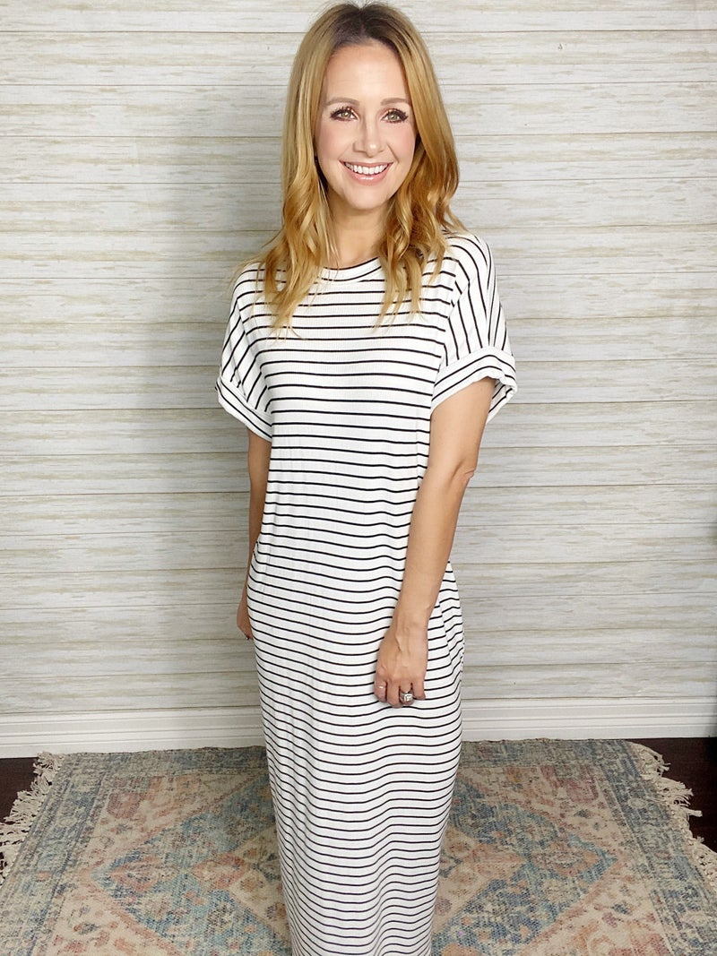 Fiona Stripe Dolman Midi Dress