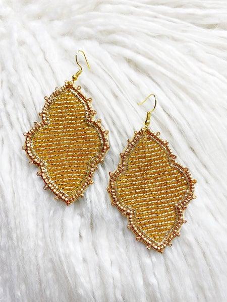 Elizabethtown Quatrefoil Beaded Earrings - Gold