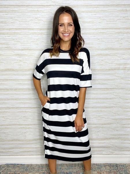 FINAL SALE - Georgia Stripe Midi Dress - Black - MEDIUM ONLY