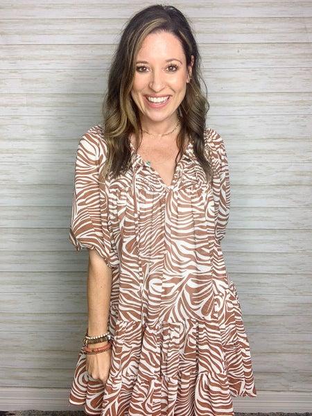 FINAL SALE - Darby Balloon Sleeve Zebra Tiered Dress