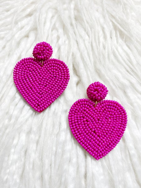 Valentina Beaded Heart Drops - Pink