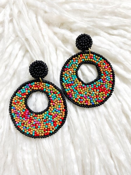 Brockton Beaded Open Hoops