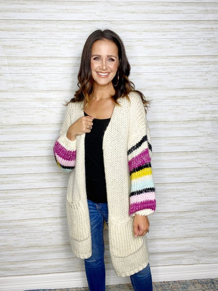 FINAL SALE - Esme Stripe Sleeve Cardigan - LARGE ONLY